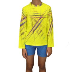 Fractal Color Parallel Lines On Gold Background Kids  Long Sleeve Swimwear
