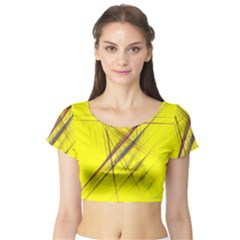 Fractal Color Parallel Lines On Gold Background Short Sleeve Crop Top (Tight Fit)