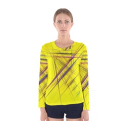 Fractal Color Parallel Lines On Gold Background Women s Long Sleeve Tee