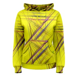 Fractal Color Parallel Lines On Gold Background Women s Pullover Hoodie