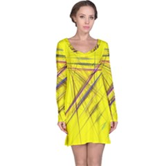Fractal Color Parallel Lines On Gold Background Long Sleeve Nightdress