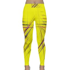 Fractal Color Parallel Lines On Gold Background Classic Yoga Leggings