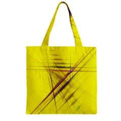 Fractal Color Parallel Lines On Gold Background Zipper Grocery Tote Bag
