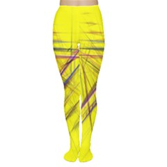 Fractal Color Parallel Lines On Gold Background Women s Tights