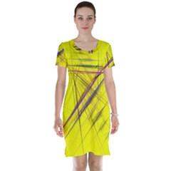Fractal Color Parallel Lines On Gold Background Short Sleeve Nightdress