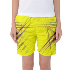 Fractal Color Parallel Lines On Gold Background Women s Basketball Shorts