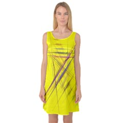 Fractal Color Parallel Lines On Gold Background Sleeveless Satin Nightdress
