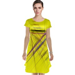 Fractal Color Parallel Lines On Gold Background Cap Sleeve Nightdress