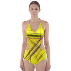 Fractal Color Parallel Lines On Gold Background Cut Out One Piece Swimsuit