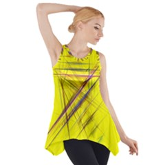 Fractal Color Parallel Lines On Gold Background Side Drop Tank Tunic