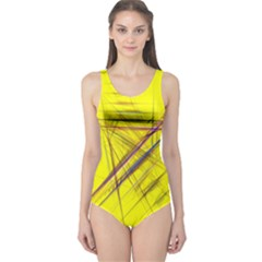Fractal Color Parallel Lines On Gold Background One Piece Swimsuit