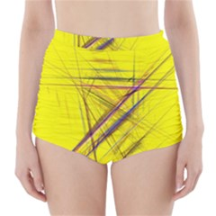 Fractal Color Parallel Lines On Gold Background High-Waisted Bikini Bottoms