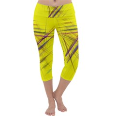 Fractal Color Parallel Lines On Gold Background Capri Yoga Leggings