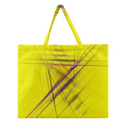 Fractal Color Parallel Lines On Gold Background Zipper Large Tote Bag