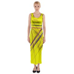 Fractal Color Parallel Lines On Gold Background Fitted Maxi Dress