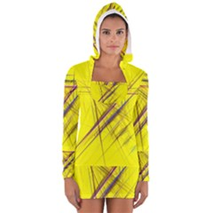 Fractal Color Parallel Lines On Gold Background Women s Long Sleeve Hooded T-shirt