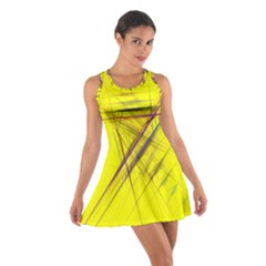Fractal Color Parallel Lines On Gold Background Cotton Racerback Dress