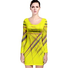 Fractal Color Parallel Lines On Gold Background Long Sleeve Velvet Bodycon Dress