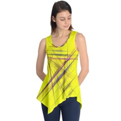 Fractal Color Parallel Lines On Gold Background Sleeveless Tunic