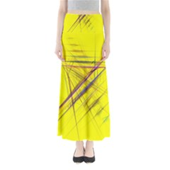 Fractal Color Parallel Lines On Gold Background Maxi Skirts