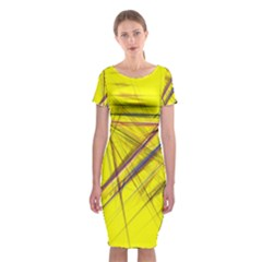 Fractal Color Parallel Lines On Gold Background Classic Short Sleeve Midi Dress