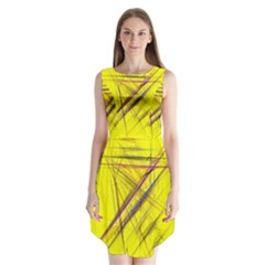 Fractal Color Parallel Lines On Gold Background Sleeveless Chiffon Dress