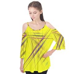 Fractal Color Parallel Lines On Gold Background Flutter Tees