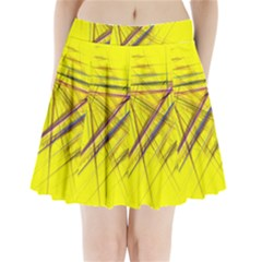 Fractal Color Parallel Lines On Gold Background Pleated Mini Skirt