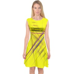 Fractal Color Parallel Lines On Gold Background Capsleeve Midi Dress