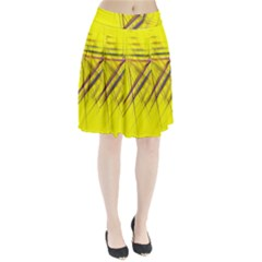Fractal Color Parallel Lines On Gold Background Pleated Skirt