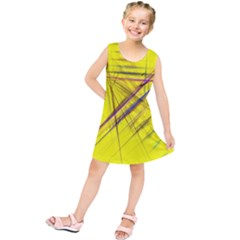Fractal Color Parallel Lines On Gold Background Kids  Tunic Dress