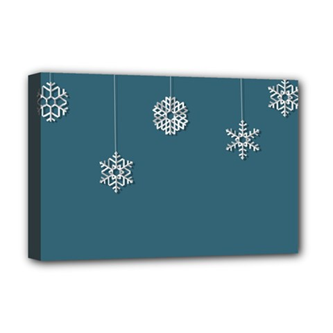 Blue Snowflakes Christmas Trees Deluxe Canvas 18  x 12