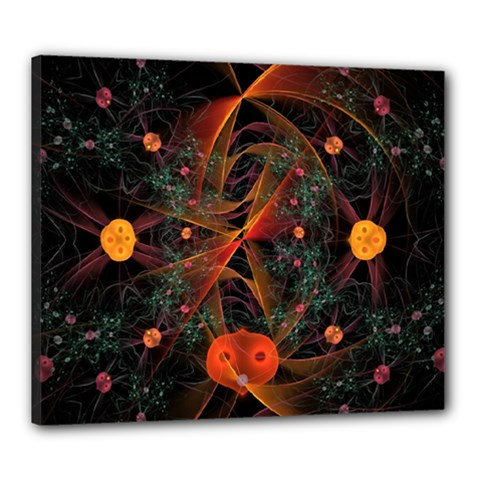 Fractal Wallpaper With Dancing Planets On Black Background Canvas 24  x 20