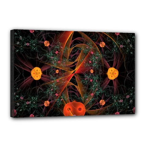 Fractal Wallpaper With Dancing Planets On Black Background Canvas 18  x 12