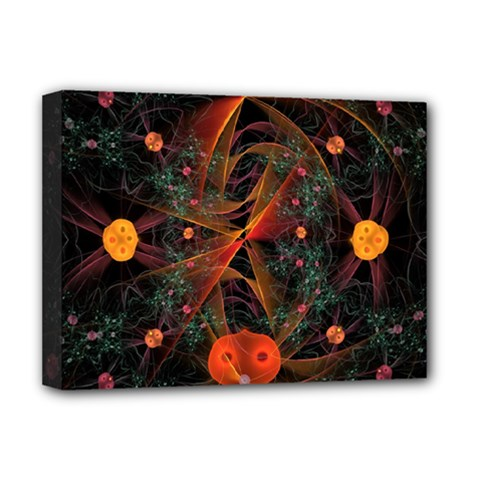 Fractal Wallpaper With Dancing Planets On Black Background Deluxe Canvas 16  X 12