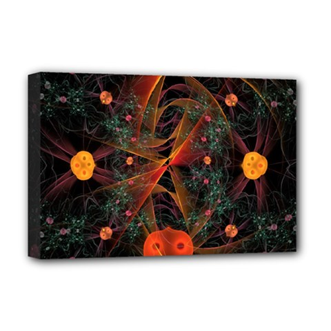Fractal Wallpaper With Dancing Planets On Black Background Deluxe Canvas 18  X 12