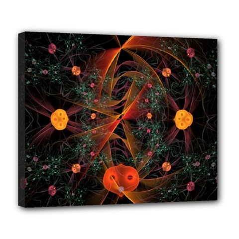 Fractal Wallpaper With Dancing Planets On Black Background Deluxe Canvas 24  x 20