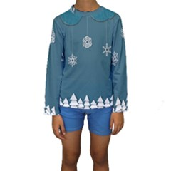 Blue Snowflakes Christmas Trees Kids  Long Sleeve Swimwear