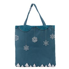 Blue Snowflakes Christmas Trees Grocery Tote Bag