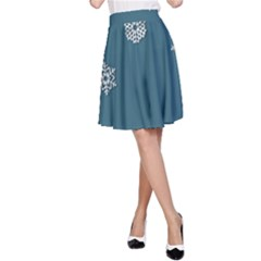 Blue Snowflakes Christmas Trees A-Line Skirt