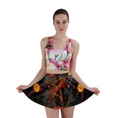 Fractal Wallpaper With Dancing Planets On Black Background Mini Skirt