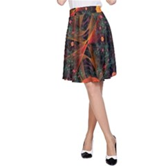 Fractal Wallpaper With Dancing Planets On Black Background A Line Skirt