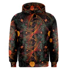 Fractal Wallpaper With Dancing Planets On Black Background Men s Pullover Hoodie