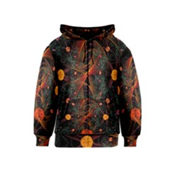 Fractal Wallpaper With Dancing Planets On Black Background Kids  Zipper Hoodie