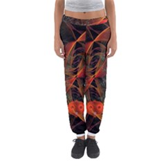 Fractal Wallpaper With Dancing Planets On Black Background Women s Jogger Sweatpants