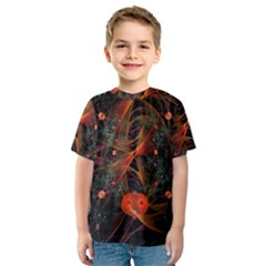 Fractal Wallpaper With Dancing Planets On Black Background Kids  Sport Mesh Tee