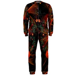 Fractal Wallpaper With Dancing Planets On Black Background Onepiece Jumpsuit (men)