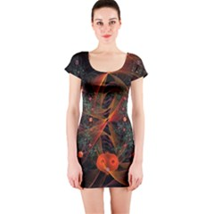 Fractal Wallpaper With Dancing Planets On Black Background Short Sleeve Bodycon Dress