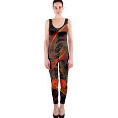 Fractal Wallpaper With Dancing Planets On Black Background Onepiece Catsuit