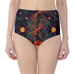 Fractal Wallpaper With Dancing Planets On Black Background High Waist Bikini Bottoms
